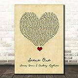 Scene One James Dean & Audrey Hepburn Vintage Heart Song Lyric Quote Music Print