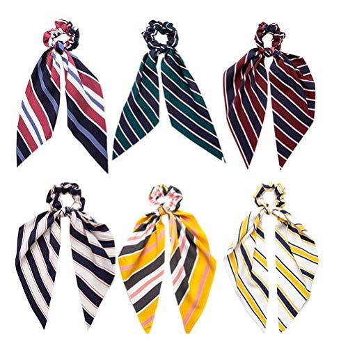 Solustre 6 Pcs Bande Cheveux Cordes Cheveux Bobbles Cordes Chouchou Élastique Bandes de Cheveux Ruban Cheveux Corde pour Femmes Étudiants Fille Dame