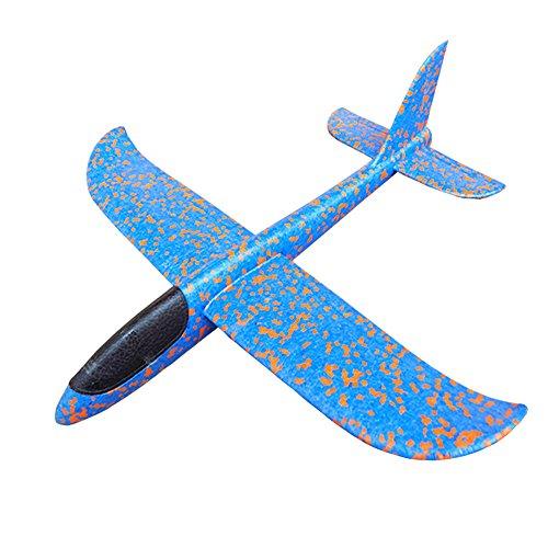 MAKFORT Kinder Flugzeug Spielzeug Outdoor Wurf Segelflugzeug Glider ca.38cm Blau