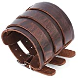 Men's leather broadband Cuff Bracelet guard wristband alloy fastening armor cuffs (Brown-2.7 inches wide)