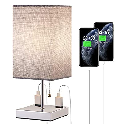 Bedside Table Lamp, Nightstand Lamp with 2 Useful 2-Prong A/C Outlets, Desk Light with Gray Square Fabric Shade, Grey Small Lamp for Bedroom Living Room Home Office