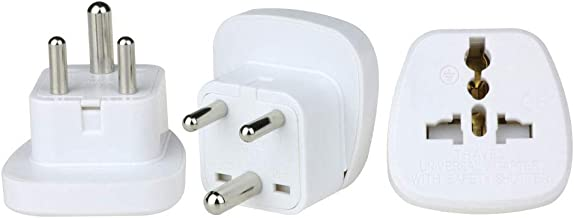 Wonplug Grounded Universal Plug Adapter Travel Plug USA to India Travel Adapter Converter Adapter Plug Kit for India (Type...