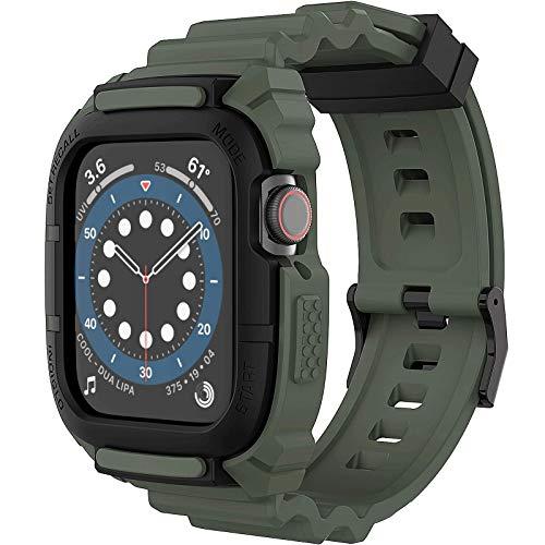 Compatible con Correa Apple Watch 44 mm 42 mm, Loxoto Estuche Protector Resistente a Los Golpes con Correa de Repuesto Funda TPU Apto para iWatch6/SE/5/4/3 Hombres Mujeres Deporte Estilo Militar