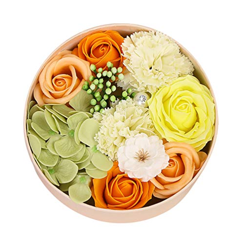 Amosfun savon de bain rose fleur floral parfumé savon pétales de rose savon pour le corps dans une boîte cadeau pour la Saint Valentin anniversaire fê