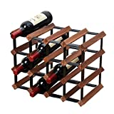 Titular del estante del vino de madera con soporte de almacenamiento Organizador Mostrador del vino de acero galvanizado encimera para 16 botellas Soporte de botella modular del vino Práctico y compac