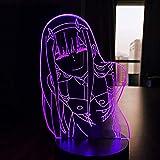 Luz de noche LED cero dos figuras mesa 3D lámpara anime Waifu regalo Darling en el Franxx Zero dos lámpara para la decoración de la habitación de la cama