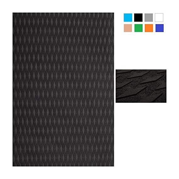 Abahub Non-Slip Traction Pad Deck Grip Mat 30in x 20in Trimmable EVA Sheet 3M Adhesive for Boat Kayak Skimboard… 1 SUPERIOR ANTI-SLIP TRACTION: In 3mm depth diamond grooves, this trimmable EVA pad provides a nice textured surface with excellent grip. CUSTOMIZE TO FIT: In size of 30''x 20'', it's trimmable and versatile. It's perfect for SUP boards, surfboards, boat decks, kayaks, skimboards, swimming pool steps, skateboards and more. PREMIUM QUALITY: Along with the brand new A-grade EVA material, all Abahub traction pads utilize certificated resin and original marine grade 3M self adhesive backing. Our processing experience also guarantees the superb stickiness won't be compromised by EVA dust generated during production.