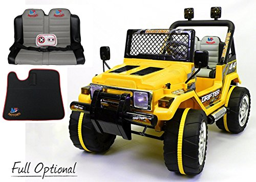 Mondial Toys Auto ELETTRICA 12V Drifter 2 POSTI per Bambini con Telecomando 2.4G Soft Start Full Optional Giallo