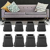 8 piezas de elevadores de muebles, silla ajustable sofá elevador pies mesa mesa elevador conjunto, 4 x 5 pulgadas / 4 x 3 pulgadas (Negro)