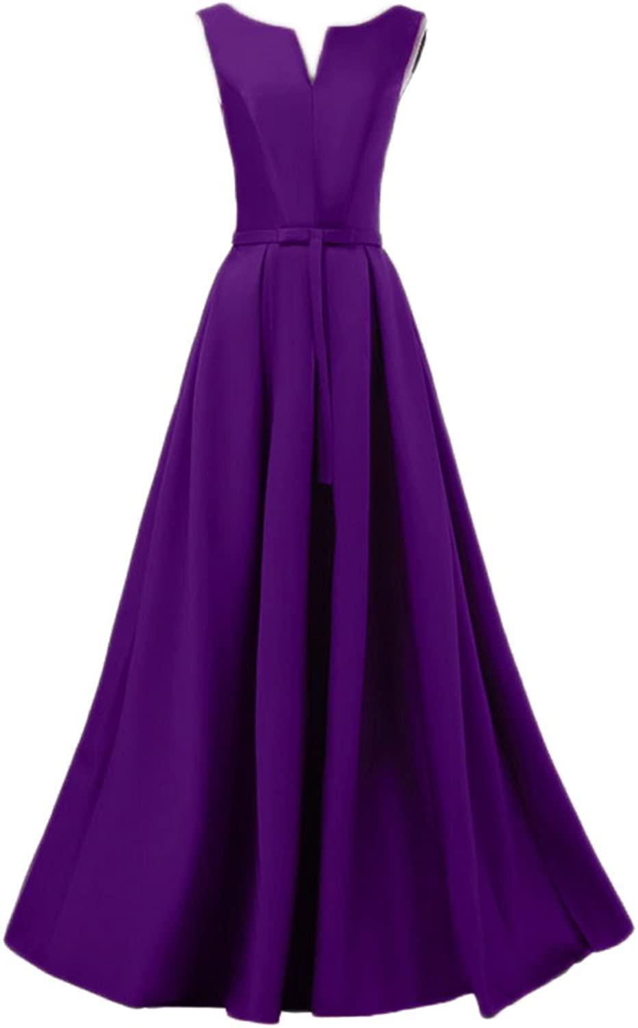 Beilite A Line Satin Evening Dress Long Bow Sashes Formal Gown