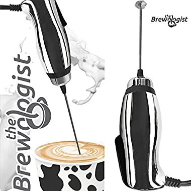 Turbo Milk Frother and Frappe Maker with SUPER POWERFUL motor for Bulletproof Coffee Drinks Protein Shakes Matcha Tea Cappuccino Frappucino and More by The Brewologist (Chrome, Handheld electric)