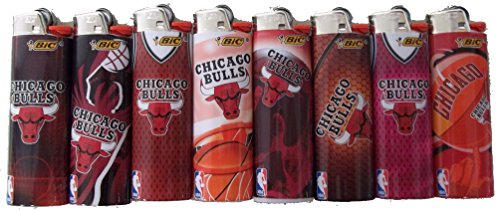 BIC Lighters Compatible with Chicago Bulls NBA Officially Licensed Full Size 8pc Set