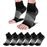 Compression Socks Sleeves (6 Pairs) for Heel Pain Relief, Best Compression Foot Sleeves with Arch...