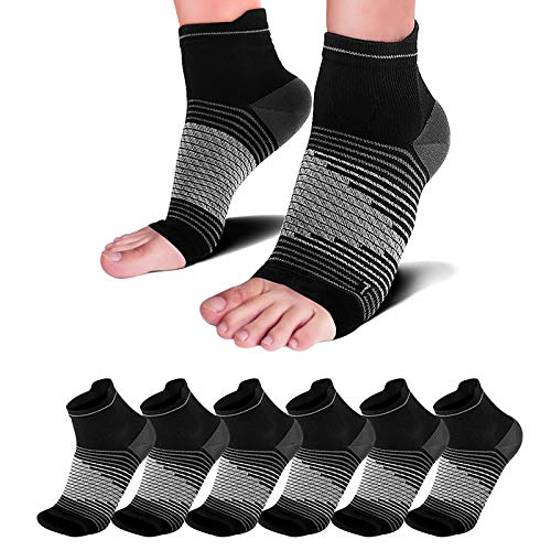 Plantar Fasciitis Compression Sleeve (6 Pairs) with Arch Foot Support for Men & Women - Best Plantar Fasciitis Night Sock for Foot and Heel Pain Relief Achilles Tendonitis Support, Black L