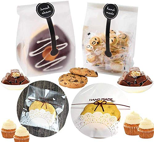300 bolsas de embalaje de panadería, embalaje de pastelería, bolsas de dulces, bolsas de celofán con pegatinas hechas a mano para galletas, caramelos de chocolate, pan o galletas (A)