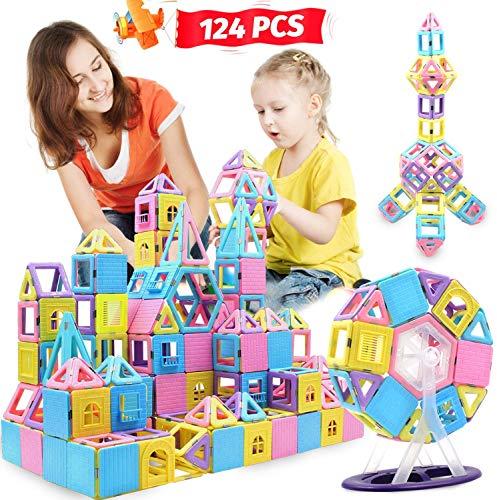 ACTRINIC 124PCS Magnetische Bausteine Magnetfliesen Frühes Bildungs- und Entwicklungsspielzeug für 3 4 5 6 7 Jahre alte Jungen Mädchen