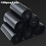 BTKNOO 100pcs / Lots Courier Bags Black Smooth New PE Plastic Poly Storage Bag Envelope Mailing Bags Auto-Adhesive Seal Plastic Pouch, 17X30 cm