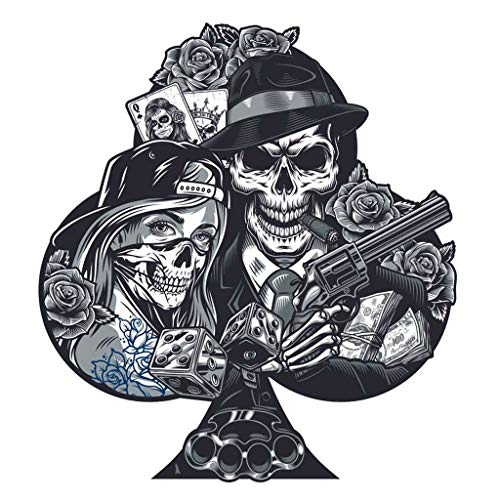 Qoalips 5D DIY Diamond Painting Kits, Vintage Gun Diamond Painting, Chicano Tattoo Girl in Scary Mask Gangster Skeleton Canvas Print Wall Art Full Drill Cross Stitch, 12x12 Inch