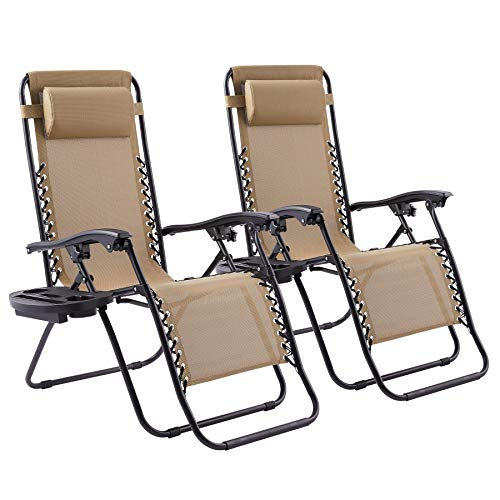 VONLUCE Zero Gravity Sun Loungers Set of 2, Comfy Texteline Reclining Chairs with Neck Pillows and Tray, Folding Camping Chairs with Cup Holders, 113kg Capacity Each, Beige