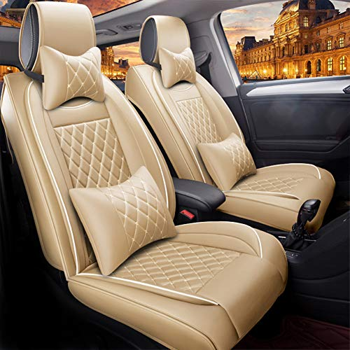 RR-YRC Comfortable and Wear-Resistant Car Seat Cover, Suitable for Most Cars, Trucks, Suvs, 5 Seat Packages, Can Be Used All Year Round,Beige
