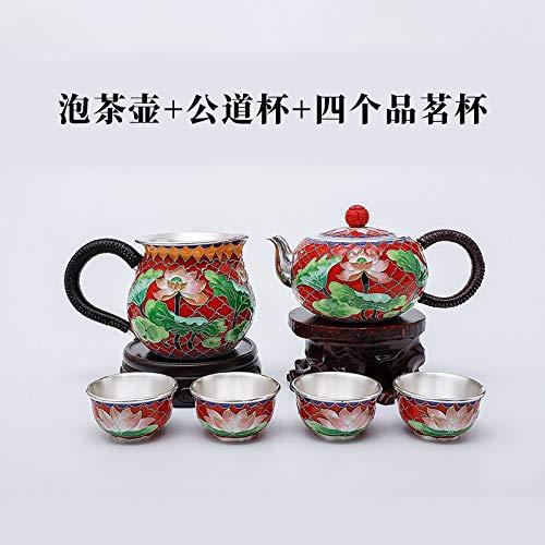 Juego de té HMXCC de plata de ley 999 con esmalte de loto Cloisonne Kung Fu de 2 colores en caja de regalo (color: multicolor, tamaño: 588 g)