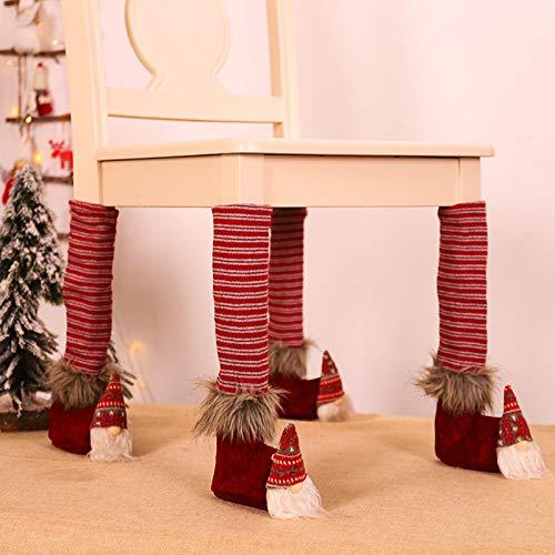 duquanxinquan 4 stück Weihnachten Stuhl Bein Fuß Abdeckung Tischdekoration Stuhlsocken Weihnachtsdeko Kappen-Set Stuhlbein-Bodenschutz für Party Dinner Weihnachten
