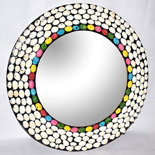 Hind Handicrafts Espejo redondo de madera de concha marina de 38 cm para pared, espejo rústico para baño, entrada, comedor, sala de estar, regalo (38 x 38 cm, multicolor)