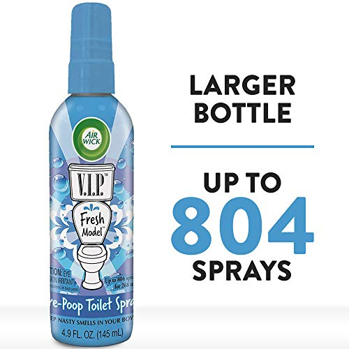 Air Wick V.I.P. Pre-Poop Toilet Spray, Up to 268 uses, Contains Essential Oils, Fresh Model Scent, 4.9 oz., Holiday Gifts, White Elephant gifts, Stocking Stuffers