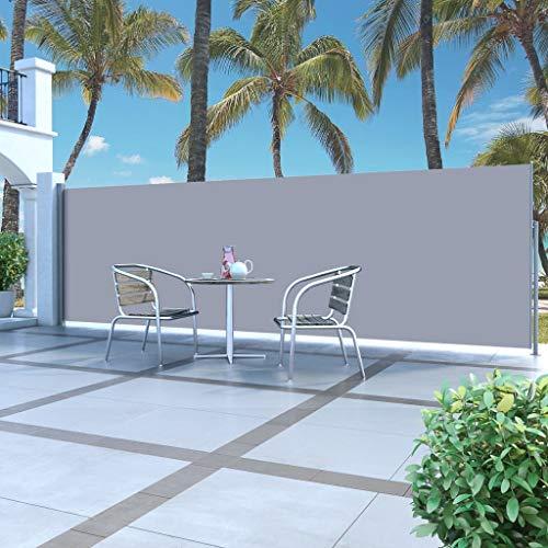 Festnight Ausziehbare Seitenmarkise | Garten Seitenmarkise Sichtschutz | Terrasse Seitenrollo | Balkon Sonnenschutz | Grau Polyestergewebe mit Stahlrahmen 160 x 500 cm