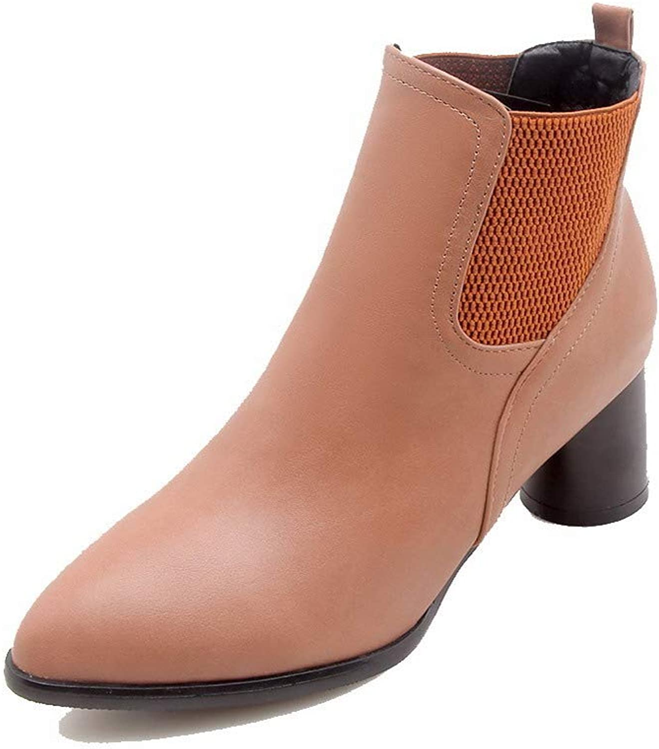WeiPoot Women's Pointed-Toe Kitten-Heels Pu Ankle-High Solid Boots, EGHXH108280