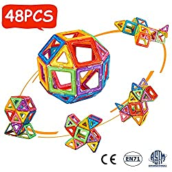 crenova 48P Magnetische Bausteine Regenbogenfarben Bausatz Pädagogischen Magnetischen Fliesen Spielzeug für Kinder