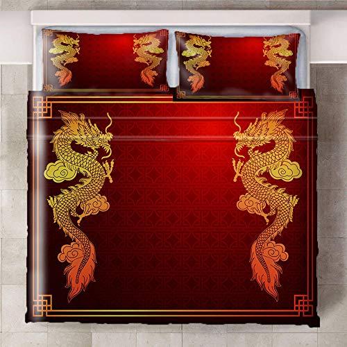 Ababilart Juego De Ropa De Cama Dragón Rojo Amarillo 200X200 Cm 3 Piezas Microfibra Calidad Juego De Ropa De Cama De 200 X 220 Cm + 2 Fundas De Almohada Hotel Habitación Habitación Infantil