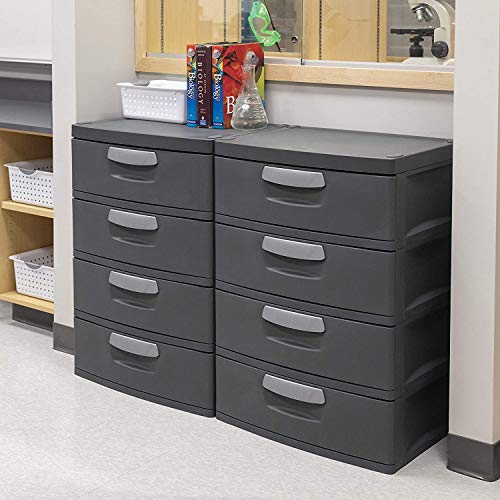 mDesign Vertical Dresser Storage Tower - Sturdy Steel Frame, Wood Top, Easy Pull Textured Fabric Bins - Organizer Unit for Bedroom, Hallway, Entryway, Closets - 3 Drawers - Black/Graphite Gray
