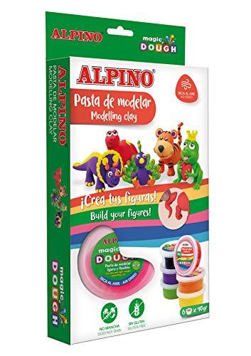 Pasta para Modelar Alpino Magic Dough -6 Botes de Colores - Pasta de modelar para manualidades niños - No Mancha, Pasta de Secado al Aire, Incuye Folleto - Sin Gluten