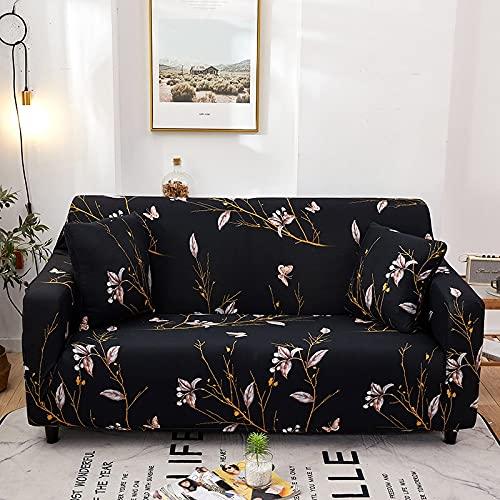 Funda de sofá Floral Envoltura elástica de algodón Fundas de sofá Antideslizantes con Todo Incluido para Sala de Estar Sofá de Esquina Toalla A13 4 plazas