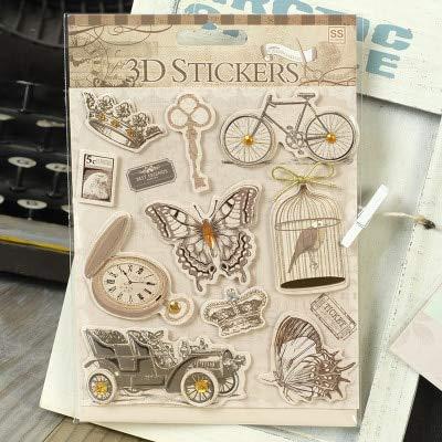 BLOUR Papel Vintage Pegatinas 3D pájaros Retro, Citas, títulos, Mariposas, Marco de Metal Pegatinas de Scrapbooking para álbumes, Tarjetas, papercraft