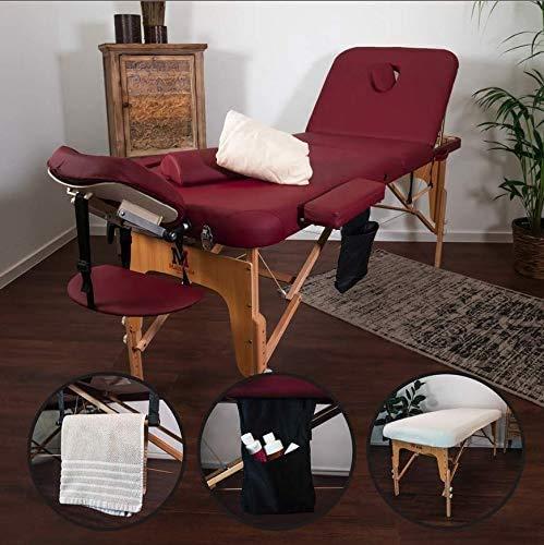 MASSUNDA Massunda All Inkl Massage-Liege klappbar und höhenverstellbar – mobiler Massagetisch aus Vollholz inkl. Frotteebezug, Arm- und Rückenlehne, Nackenkissen, ergonomische Kopfstütze (Burgund)