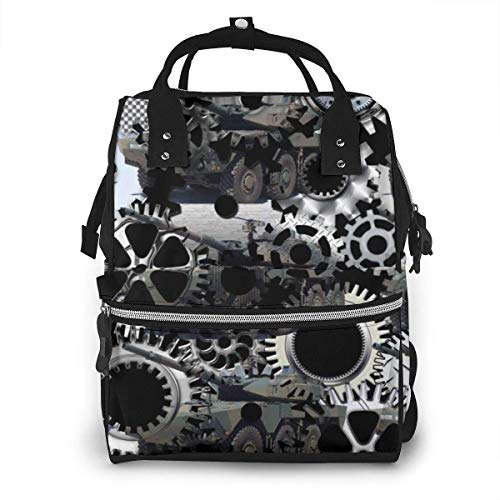 GXGZ Maschinenbau Gear Design Wasserdichter Windelrucksack, Fach mit zwei Taschen und acht Aufbewahrungsmöglichkeiten, stilvolle und langlebige Baby-Stilltaschen für Eltern