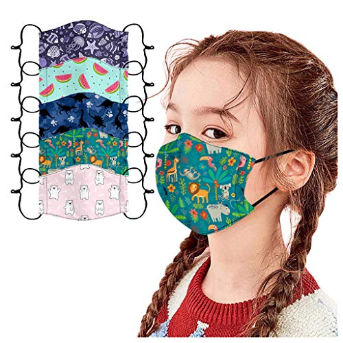USA Stock Breathable Seamless Cute Print Face_Mask Re-Usable Durable Kids 5-Pack Cartoon Print Face Summer Bandanas Washable (5pcs, A)