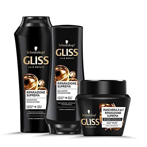 Schwarzkopf Gliss, Linea Riparazione Suprema, Confezione con Shampoo, Balsamo e Maschera 2in1, Riparazione Intensa per Capelli Danneggati, con Keratina Liquida e Perla Nera, Confezione da 3 Pezzi