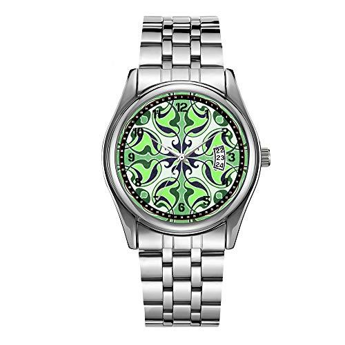 Christmas Luxury Steel Men Watch Fashion Male Date Calendar Clock Sports Watchband Waterproof Man Quartz Wrist Watches Green Retro Celtic Cross Wrist Watch