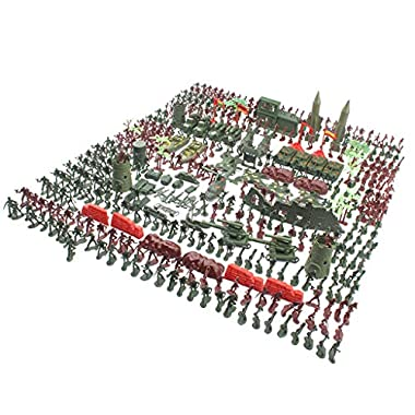 Almencla 519PCs Army Men Action Figures WWII Playset with Toy Tanks, Planes,
