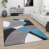 Alfombra Salón Pelo Corto Moderna Efecto 3D Perfil Contorneado Motivo Abstracto, tamaño:80x150 cm, Color:Turquesa