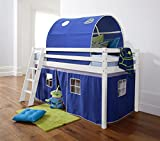 Noa and Nani - Midsleeper Cabin Bed with Blue Tent and Tunnel | Mattress Included - (White)