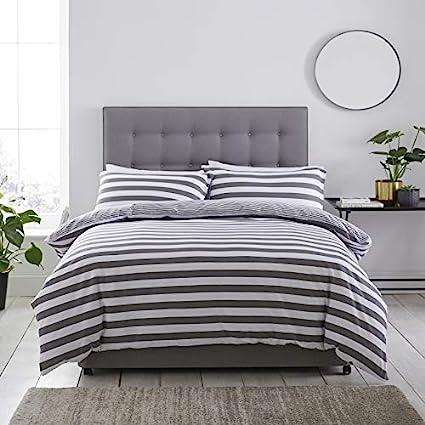 Silentnight Jersey Stripe Duvet Set Grey Single Amazon Co Uk Kitchen Home