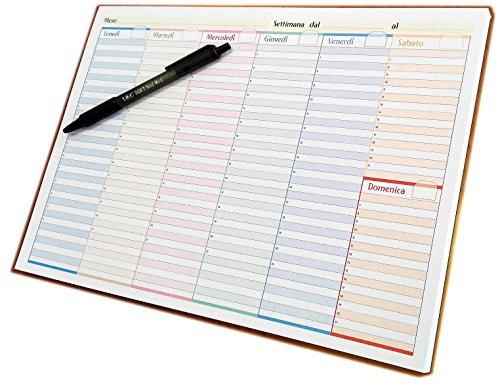 Planning da tavolo in formato A4 30x21cm con spirale metallica (stampa su 1 lato) (A4 - Senza Date - Fogli incollati (senza spirale))