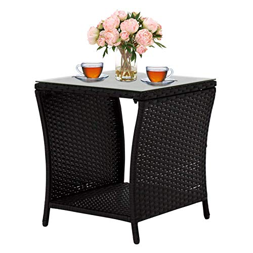 Outdoor End Table Wicker Rattan Square Side Table Patio Courtyard Coffee Bistro Glass Table with Storage, Black