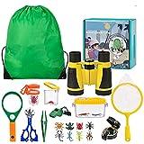 Kit de Exploración para Niños 22 en 1, Juego de Explorador para Niños para Niños Prismáticos/Binoculares, Silbato, Brújula, Lupa, 6 Arañas Plasticas, Regalo para Navidad, los Reyes