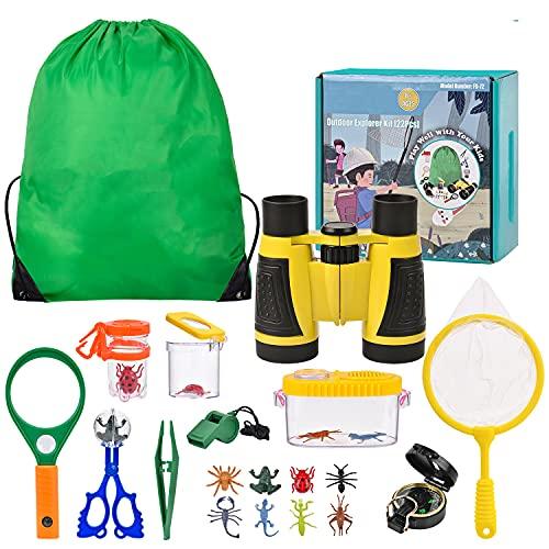 Set di giocattoli da esploratore esterno, binocolo per bambini 22 pezzi Set da esploratore per bambini avventuriero con pinzette acchiappa-insetti Bussola per visualizzatore di insetti