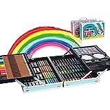 145 Set de Pintura Niños, Caja de Aluminio portátil Deluxe y Kit de Dibujo, Profesional Lápices de Colores Conjunto de Dibujo Artístico,Juego de Arte para niños Adultos, Regalos de cumpleaños(Azul)